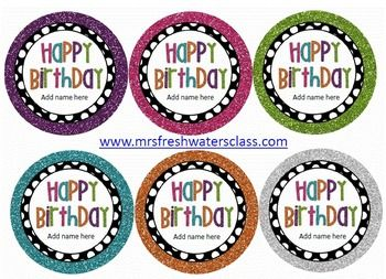 """Free polka dot birthday tags. I printed onto card stock and cut using a 3"""" circular punch from Michael's. I made this an editable file!! You can add your name or your student's names!! Enjoy!"""
