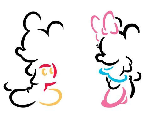 Mickey And Minnie Tattoos, Mickey Tattoo, Mickey Mouse Art, Mickey Mouse Wallpaper, Mickey Mouse And Friends, Disney Tattoos, Minnie Mouse Outline, Mickey Mouse Template, Minnie Mouse Clipart