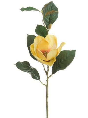 Artificial Magnolia In Yellow Peach 16 Fall Flowers Artificial Silk Flowers Wedding Flowers