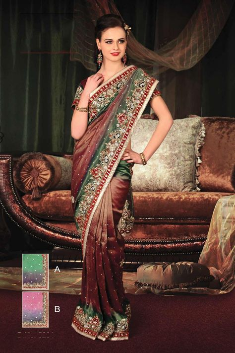 $142.39 Brown Embroidery and Stone Work Tissue Party Wear Saree 22237