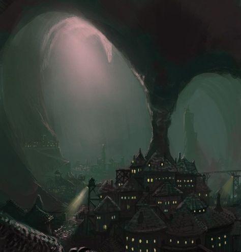 Dark Elf city near the surface. D & D, Pathfinder, RPG games. Fantasy Magic, Fantasy City, Fantasy Places, High Fantasy, Fantasy World, Fantasy Queen, Fantasy Forest, Fantasy Castle, Artwork Fantasy