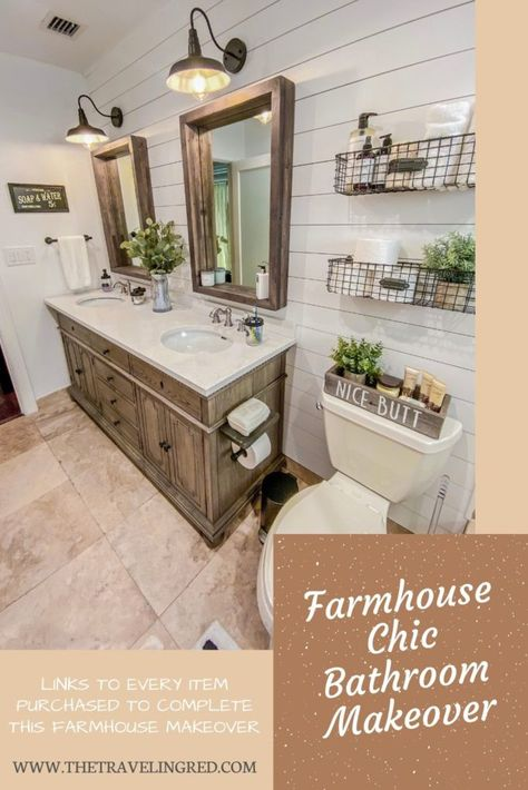 Bathroom Renovation: Farmhouse Style – A boring beige bathroom, turned farmhouse chic dream. Links to every item purchased in this renovation / makeover - The Traveling Red Farm Style Bathrooms, Modern Farmhouse Bathroom, Chic Bathrooms, Farmhouse Chic, Country Farmhouse, Farm House Bathroom Decor, Bathroom Sink Decor, Industrial Farmhouse, Modern Farmhouse Style