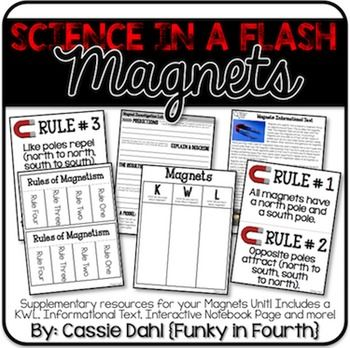 Magnets: Science in a Flash! The pack includes an informational text, interactive notebook page, student lab and so much more!