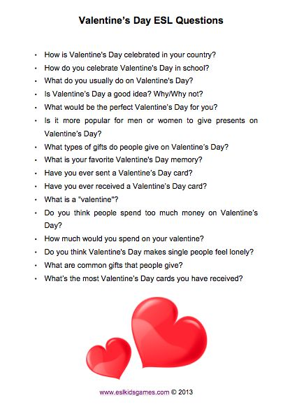ESL+Valentinesu0027s+Day+Questions+for+teens+and+adults.+ESLKidsGames.com.png  (PNG Paveikslas, Dydis: 415 × 582 Taškelių) | Valentine | Pinterest