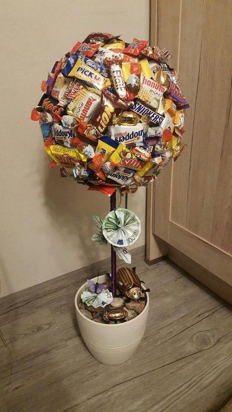 Süßigkeiten Baum als nettes Geldgeschenk.