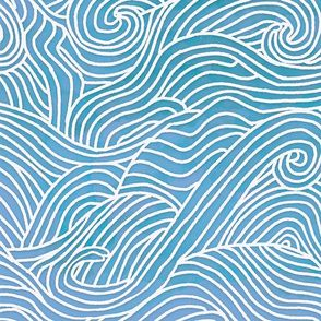 Stoff-Meterware maritim, Ozean, Strand, Meer, blau, abstrakt, Wellen, Sommer