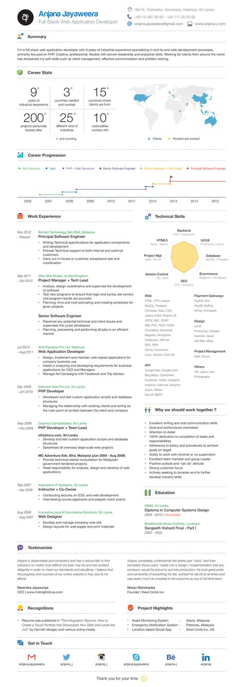 Resume Infographic by Chris Rowe, via Behance Portfolio Design - full stack developer resume