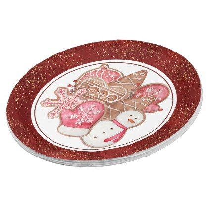 Festive Red And Gold Holiday Cookies Paper Plate Holiday Plates Christmas Tableware Christmas Party Supplies