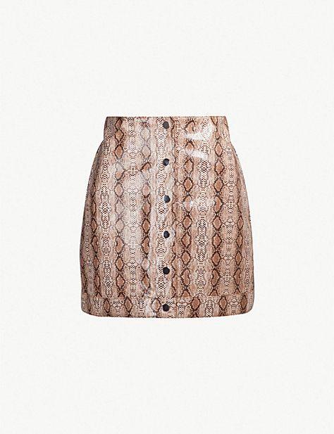 eaf1094d9e TOPSHOP Dixie snake-embossed faux-leather mini skirt