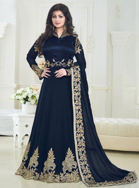 Ayesha Takia Navy Blue Georgette Floor Length Anarkali Suit 90567