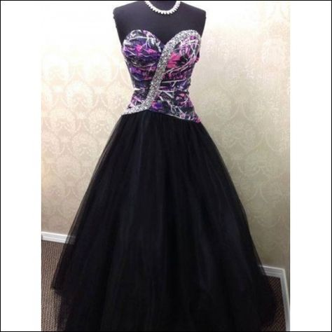 Muddy Girl Camo Gown with Black Tulle Skirt Size 4