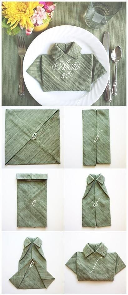 Otra manera de doblar servilletas de lo mas original