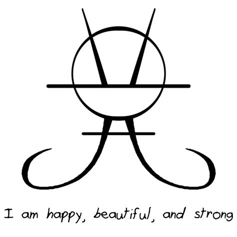 """I LOVE the one you made for my request last time it was amazing! May i request one that says: I am happy, beautiful, and strong? """"I am happy, beautiful, and strong"""" sigil Yay! I'm glad you liked it. Wiccan Symbols, Magic Symbols, Symbols And Meanings, Celtic Symbols, Ancient Symbols, Pagan, Egyptian Symbols, Magick, Witchcraft"""