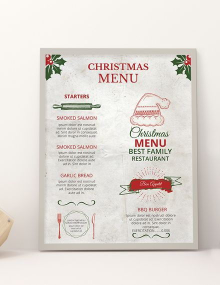 Free Restaurant Christmas Menu Template Word Doc Psd Apple Mac Pages Publisher Christmas Menu Christmas Menu Design Menu Design Template