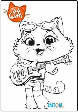 44 Gatti Disegno Milady Con La Chitarra Da Colorare Cartoni