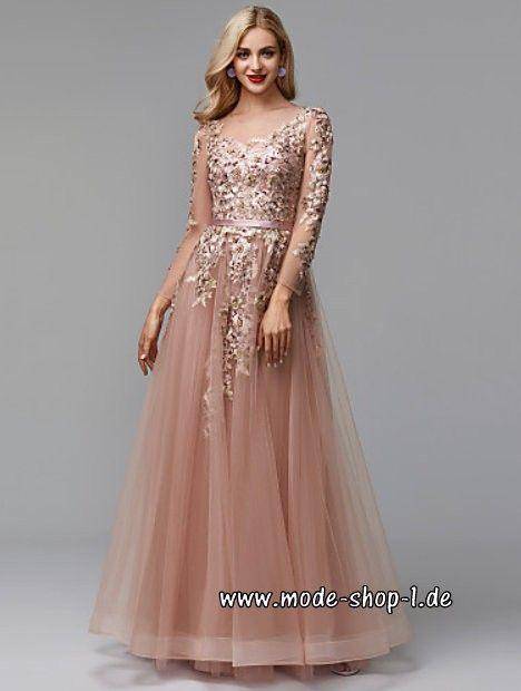 A Linie Langarm Abendkleid 2019 Mit Spitze Tüll Abiball Perlenstickerei Abendkleid Kleider Langarm Abendkleider