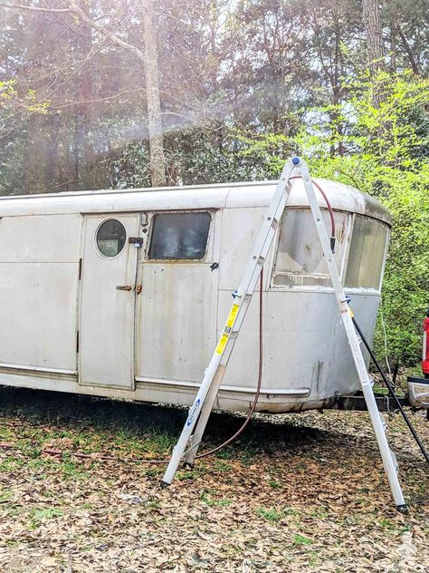 1946 Spartan Manor vintage travel trailer positioned in the woods for fall! Newly cleaned, family heirloom. See how to relocate a vintage camper when it's been stuck in a wooded lot for many years and what you need to know to get it on the road safely and legally. Ruby's Revival #trailer #camper #glamping #vintage #airstream #rv #spartan #tinyhouse #smallspaceliving
