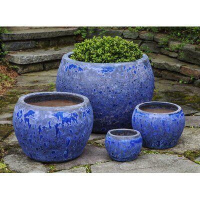 Campania International 4 Piece Pot Planter Set Color Angkor Blue In 2020 Planters Planter Pots Angkor