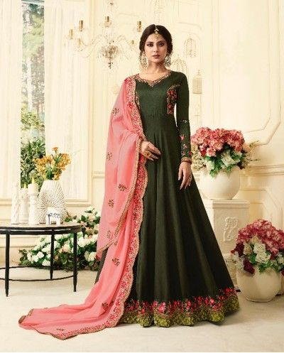 Buy A Mehendi Green Embroidered Floor Length Anarkali Suit