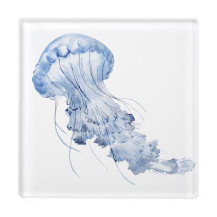 Jellyfish Glass Coaster Zazzle Com Glass Coasters Coasters Glass