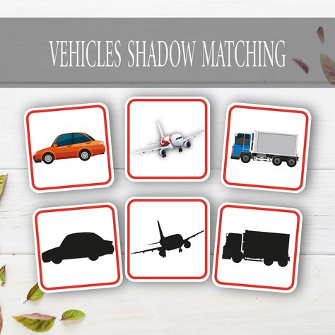 Vehicles Shadow Matching Game Cards