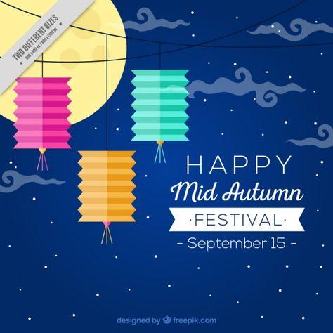 Happy mid autumn festival, background Free Vector
