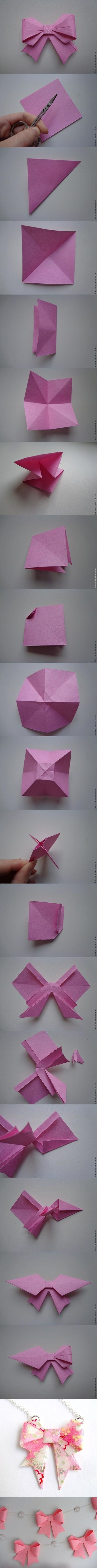 How to DIY Origami Paper Gift Bow.