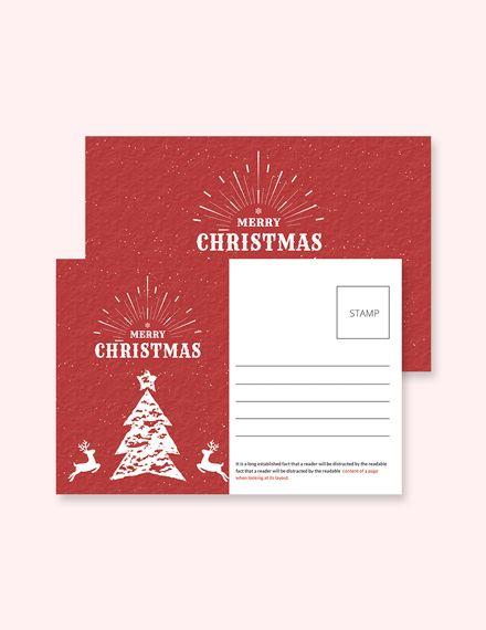 Retro Christmas Postcard Template Free Pdf Word Psd Apple Pages Publisher Christmas Postcard Template Postcard Template Free Christmas Card Design