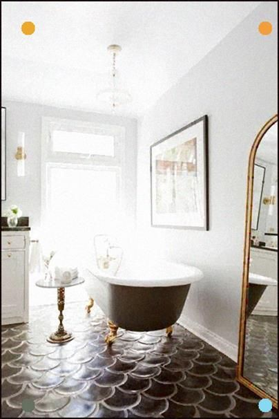 The Black Mermaid Tiles Work So Well In This Bathroom With Its