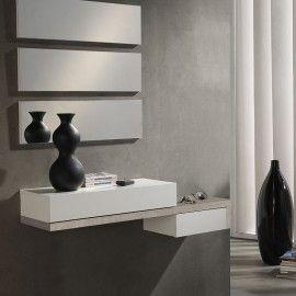 Meuble D Entree Noyer Et Blanc Moderne Decoracion De Unas Recibidor Espejos