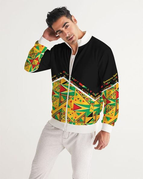 """Guyanese Swag Guyana Tribal Print Men's Track Jacket Product Details Get moving in comfort and style with our Men's Track Jacket. Its ribbed collar, cuffs and hem are the details to make it a casual go-to or top layer before getting in a workout. Smooth, comfortable fabric Ribbed collar, cuffs and hem Front zipper and zip pockets Unlined Printed, cut, and handmade Size & Fit Slim fit Hits at the hip Model is 6'2 wearing size Large Model's chest size is 38"""" Model's sleeve length is 34"""" Materi"""