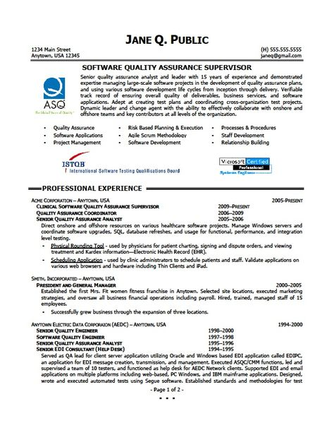 Quality Assurance Supervisor Resume -    jobresumesample - software quality analyst sample resume