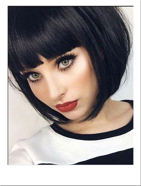 26 Full Fringe Short Hairstyles 2019 Fashionre Hair Styles Short Hair With Bangs Short Hair Styles