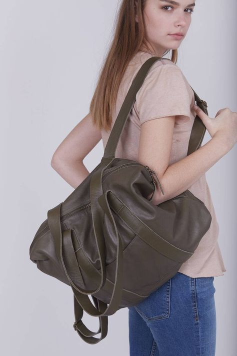Olive Green Leather Bag, Convertible Backpack Purse, Large