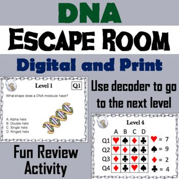 This Breakout Escape Room Is A Fun Way For Students To Improve Their Skills And Knowledge Of The Structure And Dna Lesson Plans Escape Room Functions Activity