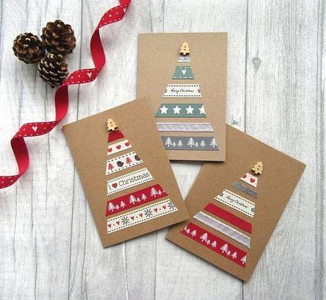Diy 15 Creations Avec Des Rubans Carte Noel Diy Carte De Noel
