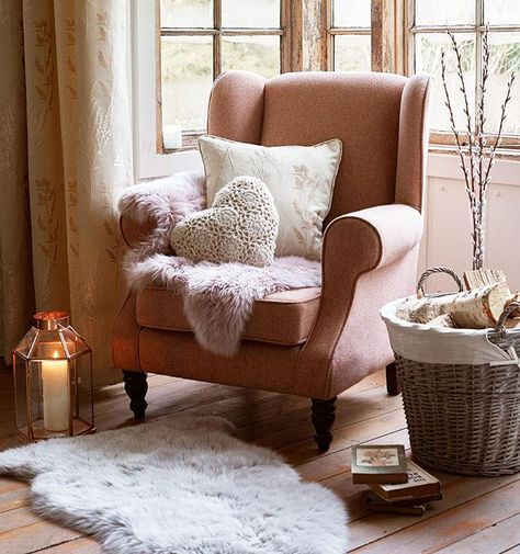 Create your own charming country retreat this season using pink, cream and natural colours within our Rustic Romance trend. Elegant armchairs, cushions and sheepskin fur rugs will help to make your room perfect this Autumn