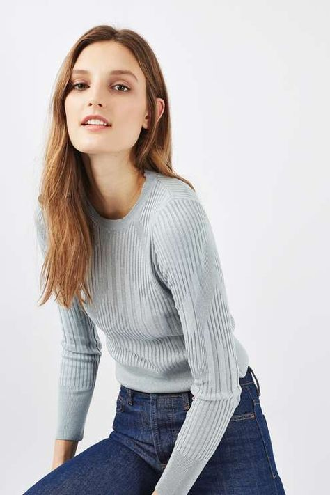 Invest in an essential wardrobe staple with this fine gauge knit top in sea blue. In a cropped finish, it features a cool varied rib detail. Style with a pair of mid wash jeans for a go-to everyday look. #Topshop