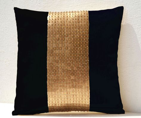 Throw Pillows - Black gold color block in silk and sequin bead detail cushion - sequin bead pillow - 16X16 black pillow - gift pillow on Etsy, $24.00