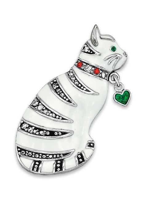Whimsical Cat Pin at http://www.AmeriMark.com. A white enamel cat with white and siam crystals and a green enamel heart charm. #catpin #catjewelry #amerimark #windsorcollection