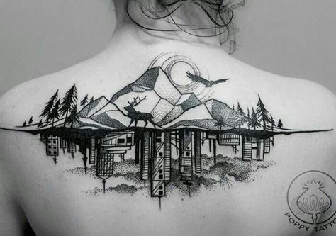Lineart Wolf Tattoo : Blackwork style landscape nature tattoo by david mushaney www