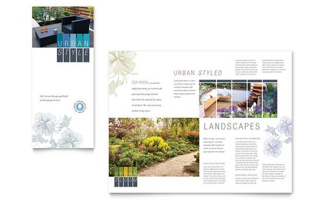 Urban Landscaping Tri Fold Brochure Design Template by - tri fold brochure