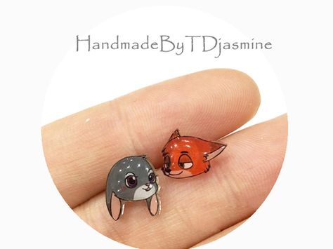 Zootopia Collection Disney Lover Tsum Tsum Judy & Nick Cute Stud Earrings sold by Chowmii