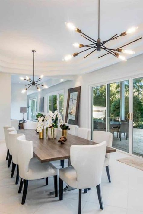 Tropical Paradise with Vaulted Grand Entrance and the Ultimate Indoor/Outdoor Flow Elegant Dining Room, Luxury Dining Room, Modern Dining Table, Modern Dinning Room Ideas, Lighting Over Dining Table, Contemporary Dining Room Lighting, Contemporary Pendant Lights, Contemporary Kitchens, Contemporary Bedroom
