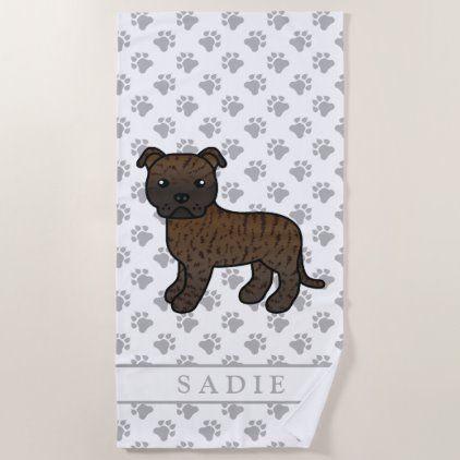 Brindle English Staffie Cute Cartoon Dog Name Beach Towel