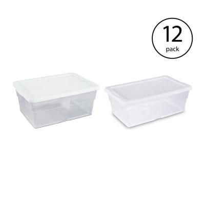 Sterilite 16 Qt And 6 Qt Clear Stacking Storage Container Boxes 12 Pack 12 X 16448012 12 X 16428012 Plastic Container Storage Plastic Box Storage Plastic Bag Storage