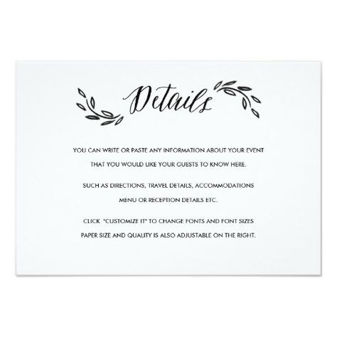 Watercolor Woodland Wedding Insert Details Card Paper Goods