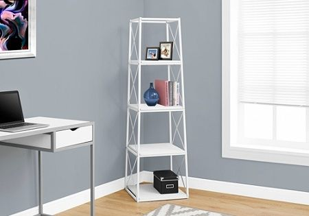 Monarch Specialties 4 Shelf Etagere Metal Bookcase White By Office Depot Officemax Metal Bookcase White Bookcase White Bookshelves
