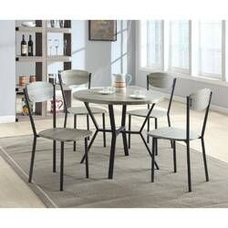 Bailee 6 Piece Solid Wood Dining Set Round Dining Table Sets Solid Wood Dining Set Dining Room Sets