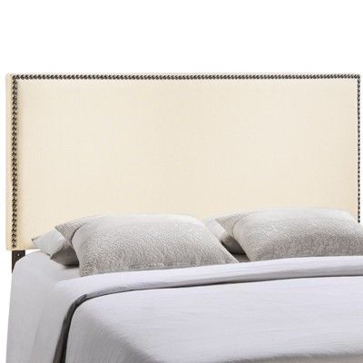 Contemporary Modern Ivory Linen Fabric Upholstered Nailhead Queen Headboard